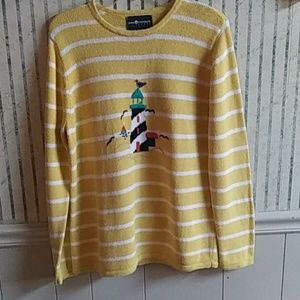Sag Harbor Sport Yellow Knit Sweater Size L